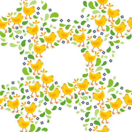 christian young: little yellow chickens with green leaves and blue flowers Easter spring holidays themed decorative wreath seamless pattern isolated on white background