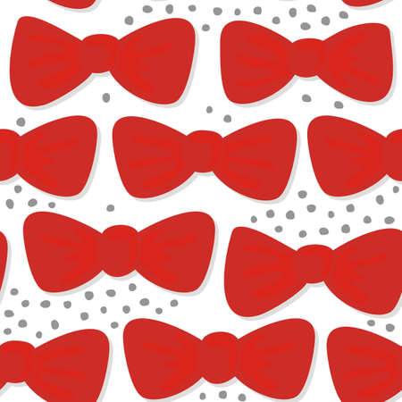 whitern: red bows on white seamless pattern