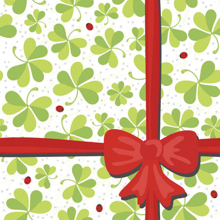 red clover: red bow on clover meadow with ladybugs gift wrap paper on white background Illustration