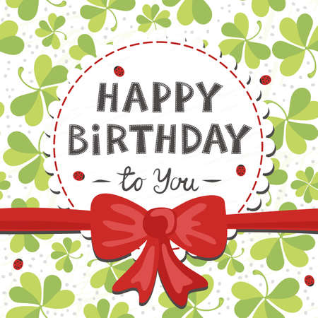 red clover: red bow on clover meadow with ladybugs birthday card with wishes in English
