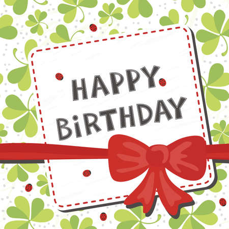 red clover: red bow on clover meadow with ladybugs birthday card with wishes in English on white background Illustration