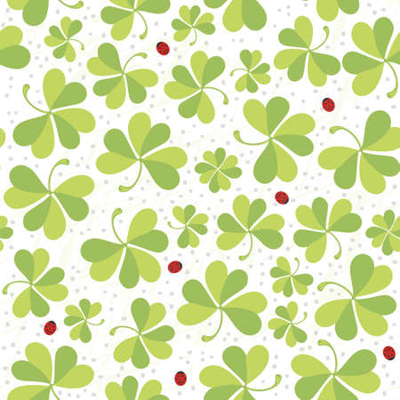 clover meadow with ladybugs seamless pattern on white