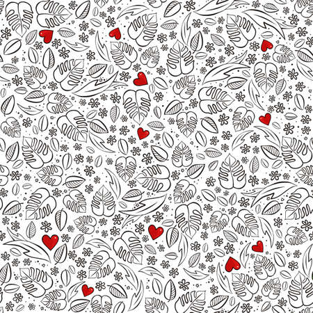 secret love: secret garden floral monochrome spring summer seasonal messy seamless pattern with red hearts on a white background Illustration
