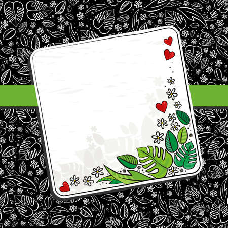 blank note: secret garden floral monochrome spring summer seasonal messy card with ribbon and colorful squares blank note on dark background