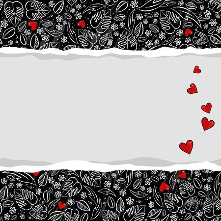 secret garden floral monochrome spring summer seasonal messy seamless pattern with red hearts on dark background with horizontal torn paper Vector