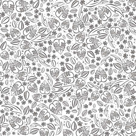 Secret Garden Floral Monochrome Spring Summer Seasonal Messy Seamless Pattern On White Background
