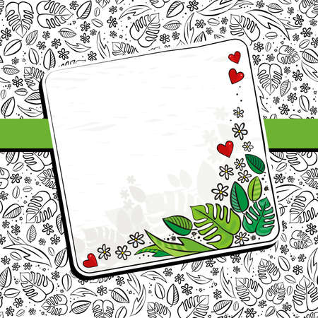 blank note: secret garden floral monochrome spring summer seasonal messy card with ribbon and colorful squares blank note on a white background