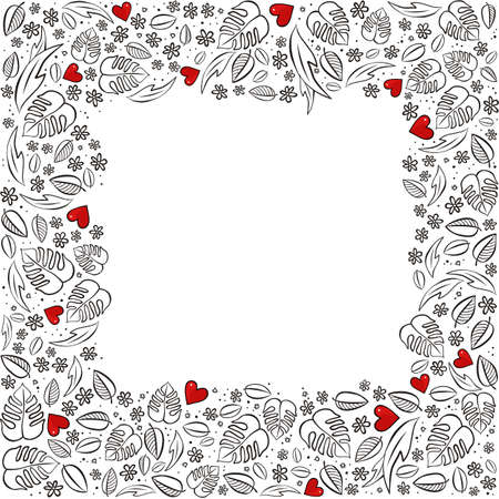 secret garden square frame with red hearts monochrome floral spring summer seasonal messy card on a white background Illustration