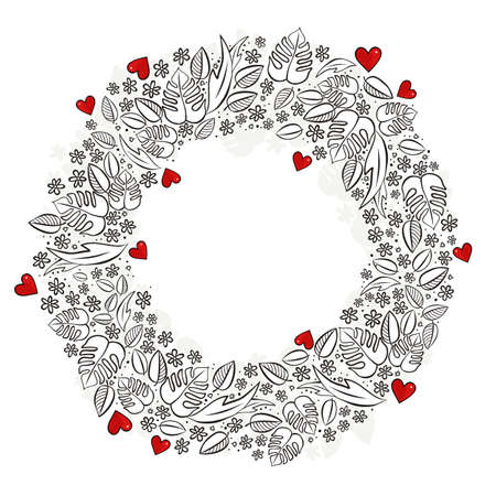 secret love: secret garden wreath with red hearts monochrome seasonal spring summer floral centerpiece messy card on a white background