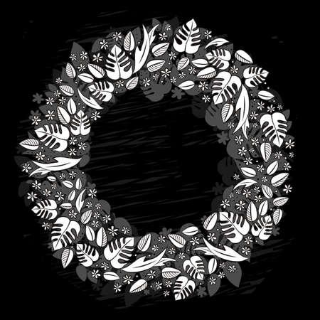 centerpiece: secret garden spring summer wreath monochrome floral centerpiece seasonal messy card on dark background