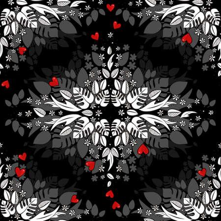 secret love: secret garden floral monochrome seasonal spring summer seamless pattern with red hearts on dark background