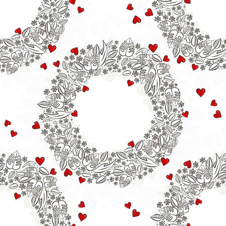 secret garden wreath with red hearts monochrome floral spring summer seasonal messy seamless pattern on white background Vector