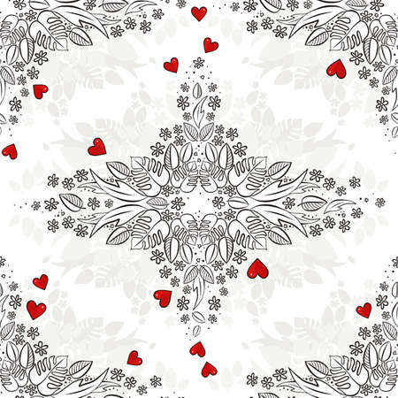 secret love: secret garden floral monochrome seasonal spring summer seamless pattern with red hearts on a white background