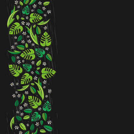 vertical garden: secret garden floral colorful spring summer seasonal messy seamless vertical border on dark background Illustration