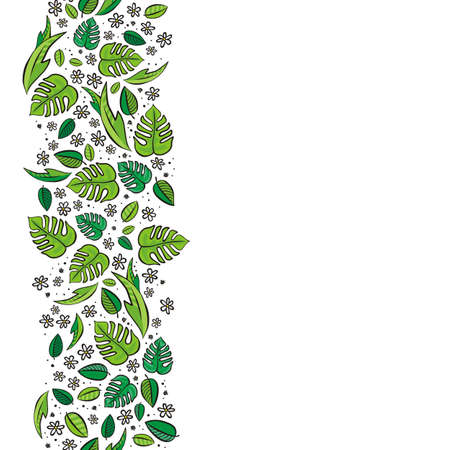 vertical garden: secret garden floral colorful spring summer seasonal messy seamless vertical border on a white background