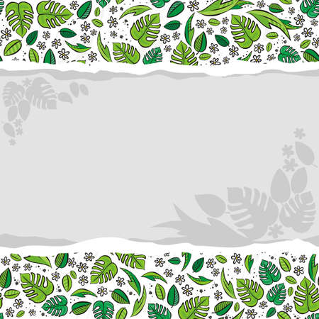 secret garden floral colorful spring summer seasonal messy seamless pattern on white background with blank torn paper Vector