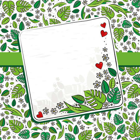 blank note: secret garden floral colorful spring summer seasonal messy card with ribbon and blank note squares on a white background Illustration