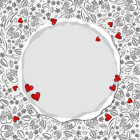secret garden floral monochrome spring summer seasonal messy seamless pattern with red hearts on a white background with torn paper round