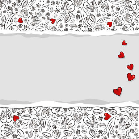 secret love: secret garden floral monochrome spring summer seasonal messy seamless pattern with red hearts on a white background with horizontal torn paper Illustration