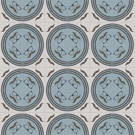 historical romance: mustache hipster glasses blue gray beige geometrical seamless pattern staircase on beige tile styles Illustration