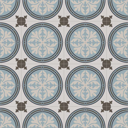 secession: blue gray beige geometrical seamless pattern staircase on beige tile styles Illustration
