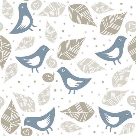 talc: little blue birds love talk with talc doodles dots and leaves seamless pattern isolated on white background Illustration