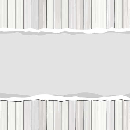 bleached: white wooden floor vertical horizontal fence with blank torn paper vector background Illustration