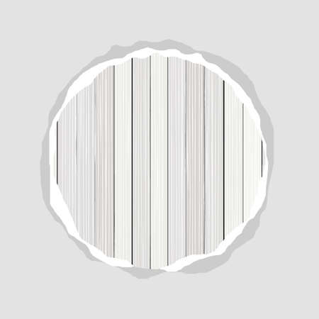 bleached: round white wooden floor vertical fence torn piece on blank paper vector background light