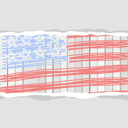bleached: american flag stars and blank horizontal stripes torn paper patriotic 4th july background