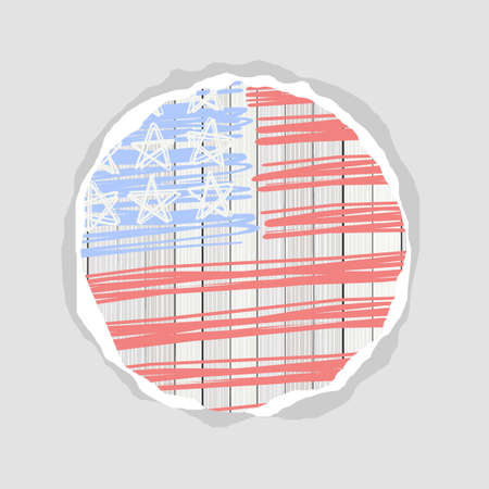 bleached: american flag stars stripes and blank round torn paper patriotic 4th july background Illustration