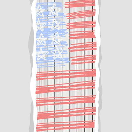 bleached: american flag stars stripes and blank vertical torn paper patriotic 4th july background Illustration