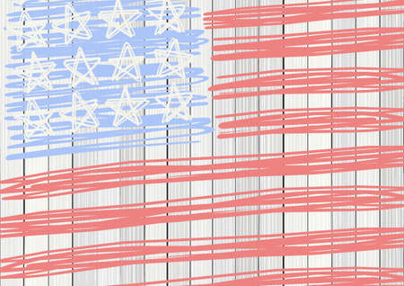bleached: white wooden floor vertical fence with american flag stars stripes patriotic 4th of july rectangular background Illustration