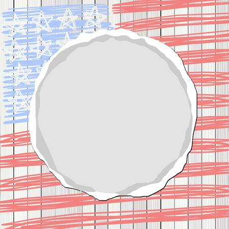 stars and stripes: white wooden floor vertical fence with american flag stars stripes and round blank torn paper patriotic 4th of july card