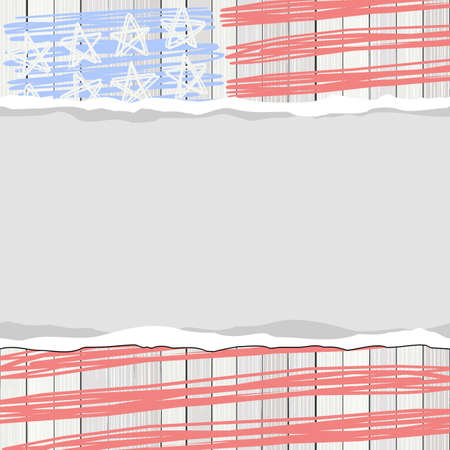 bleached: white wooden floor vertical fence with american flag stars and blank horizontal stripes torn paper patriotic 4th of july card Illustration