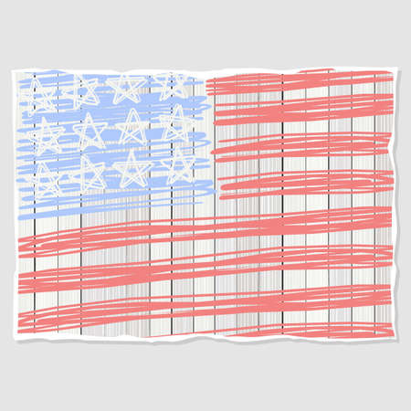 bleached: american flag stars stripes patriotic 4th of july illustration on light gray background