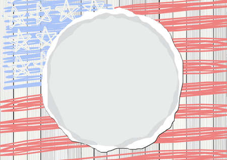 white wooden floor vertical fence with american flag stars stripes patriotic 4th of july rectangular background with blank round torn paper Illustration