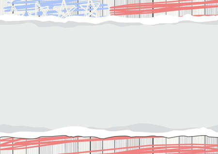 stars and stripes: white wooden floor vertical fence with american flag stars stripes patriotic 4th of july rectangular horizontal background with blank torn paper