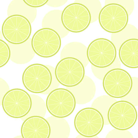 sliced fruit: sliced citrus fruit summertime messy seamless pattern with green lime slices on white background