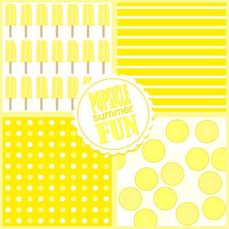 frutas divertidas: amarillo helado de limón fresco de frutas de verano divertido postre vector patrón sin fisuras conjunto