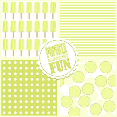 popsicle: lime green popsicle summer fun summertime cool fruit dessert vector seamless pattern set