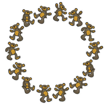 centerpiece: brown teddy bear toy animal messy decorative wreath centerpiece isolated on white background
