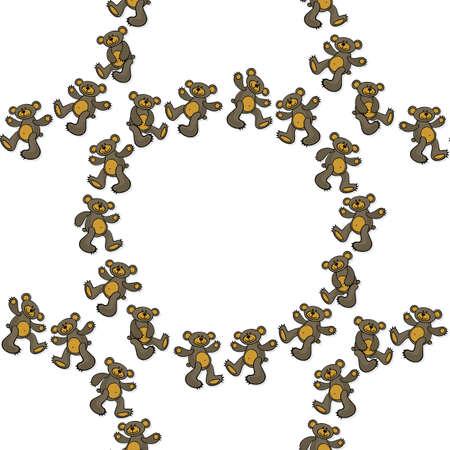 teddy wreath: brown teddy bear toy animal messy decorative wreath seamless pattern on a white background