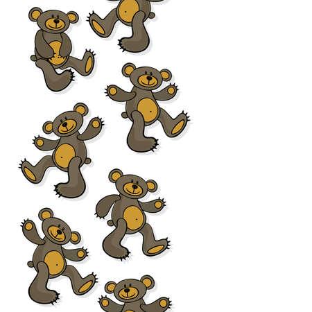 oso de peluche: marrón oso de peluche animal de juguete sucio frontera sin costuras verticales decorativos aislados sobre fondo blanco Vectores