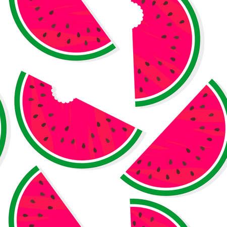 yummy: yummy fruit bitten watermelon summertime messy seamless pattern on a white background Illustration