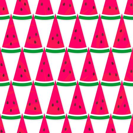 yummy: yummy pieces of watermelon fruit in horizontal rows summertime seamless pattern on a white background