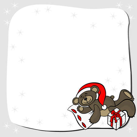 gray cards: brown animal toy sleeping teddy bear with Santa Claus hat and Christmas gift seasonal decorative Christmas card with place for your text Illustration