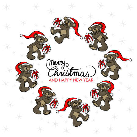 teddy wreath: brown animal toy teddy bears with Santa Claus hat and Christmas gift seasonal decorative wreath Christmas card with wishes in English on a white background