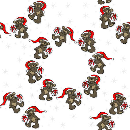 teddy wreath: brown animal toy teddy bears with Santa Claus hat and Christmas gift seasonal decorative wreath Christmas seamless pattern on a white background