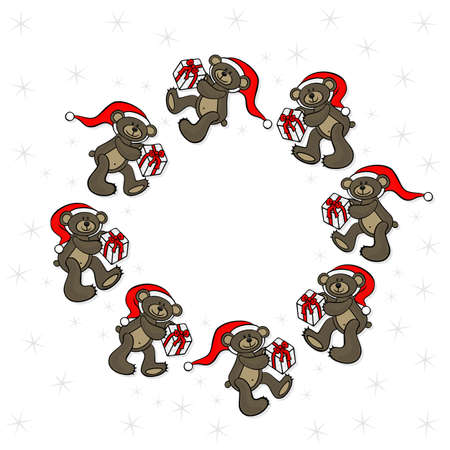 teddy wreath: brown animal toy teddy bears with Santa Claus hat and Christmas gift seasonal decorative wreath Christmas card on a white background
