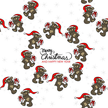 teddy wreath: brown animal toy teddy bears with Santa Claus hat and Christmas gift seasonal decorative wreath Christmas seamless pattern with wishes in English on a white background